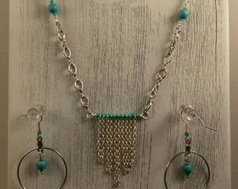 Boho Inspired Fringe Princess Necklace with Earrings, Perfect Gift for Her, HandCrafted, Sliver & Turquoise , Native American Artist, USA