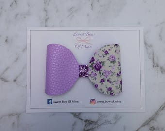 Large Bow Headband Or Clip | Floral, Purple Leather, Purple Glitter | Baby Headband, Girls Clips, Big Bows