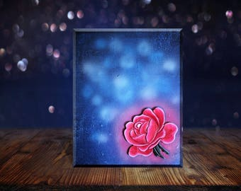 Bright rose 24 x 30 cm. Mixed media acrylic painting on canvas