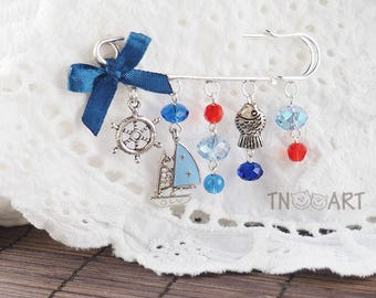 Sea style brooch pin / handmade jewelry silver color charm brooch yacht fish steering wheel charms glass beads blue red color