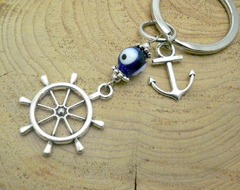 Ship wheel keychain,sailing wheel keychain,boat wheel keychain,Anchor Keychain,nautical keychain,sailor keychain,evil eye charm,anchor charm
