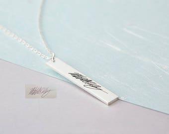 Custom Handwriting Necklace - Handwritten Bar Necklace - Personalized Jewelry - Handwriting Jewelry - Personalized Gift