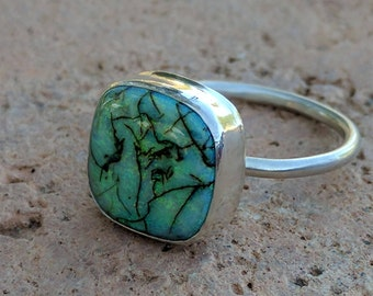 the opals collection--sterling opal--sterling silver ring--size 7.25