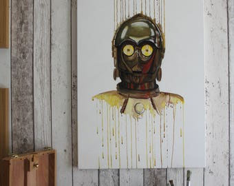 Star Wars C3PO Painting - Original one of a kind hand painted on canvas