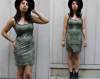 Vintage 90s Snake Skin Print Body Con Dress