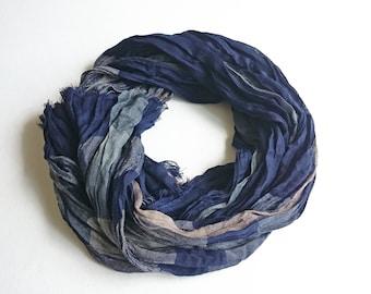 Navy Blue Crinkle Shawl, Spring Shawl, Elegance Shawl, Wrinkled Shawl