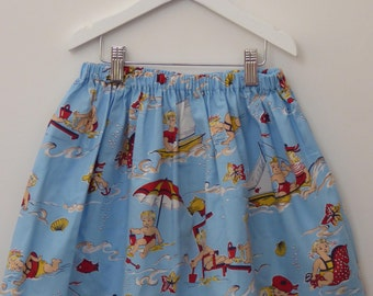 SALE - Handmade Playtime Skirt with elasticated waist, retro fabric