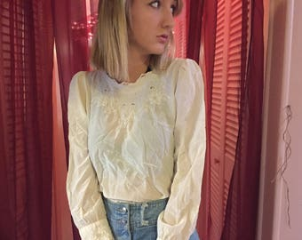 100% silk Hand Embroidered blouse long sleeve white shirt vintage hippie 1960s 1970s