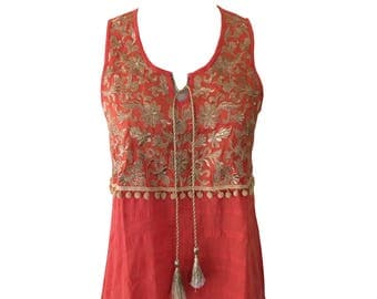 Indian Summer Citrus Tank with Gold embroidery