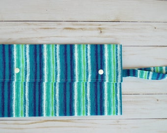 Blue Striped Clutch - Fabric Clutch - Diaper Clutch - Diaper Wallet - Diaper Bag Organizer - Blue Striped Organizer