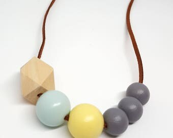 Mint and yellow, geometric necklace, wood bead necklace, valentine gift, gift for her, chunky necklace, made in Cornwall, Scandinavian