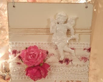 Vintage Shabby Chic Painted Wood Valentine Ornament Pink Roses Ivory Wainscot Love Hanger Shabby Chic Roses Romantic Cherub Wood Tag