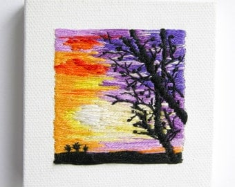 Sunset Shadows | Wall Art | Home Decor | Modern Embroidery | Gift Idea  | Minimalism | Tiny Art | Hand Embroidered