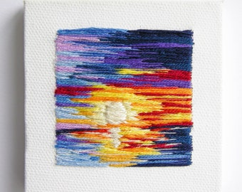 Sunset Reflection | Wall Art | Home Decor | Embroidery Gift | Landscape