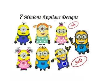 Minions Applique Design - 7 designs machine embroidery INSTANT DOWNLOAD