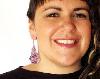 "Beautiful purple ""Campana"" earrings made of alpaca silver and amethyst"