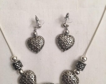 Silver Lattice Heart Necklace & Earrings (#304)