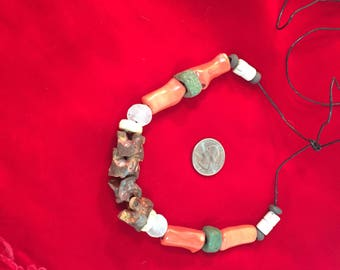 Rattlesnake Bone, Coral and Trade Beads Necklace