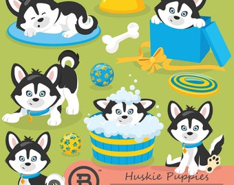 Huskie Puppies clipart, puppi dog clipart, huskie clipart, vector graphics, digital clip art, digital images