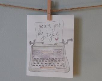 Typewriter Valentines Day Card