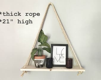 HANGING SHELF: single-tier / handmade shelf for plants, candles & decor