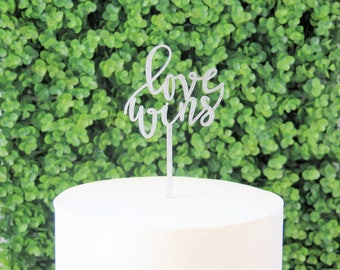 love wins laser cut cake topper/wedding/shower/anniversary