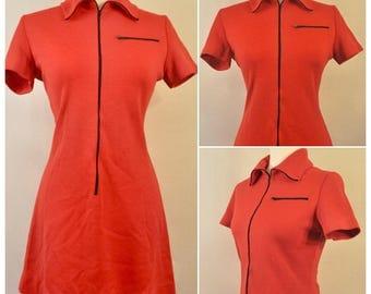 Vintage 1960s Mod Zip Up Stretch Knit Scooter Mini Dress Collar Tee Vicki Juniors Medium
