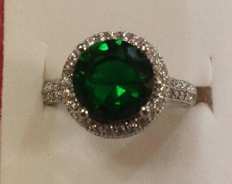 Vintage Emerald Quartz & White Topaz Round Cut Gemstone Sterling Silver Ring, 3.25 ct.  Size - 7