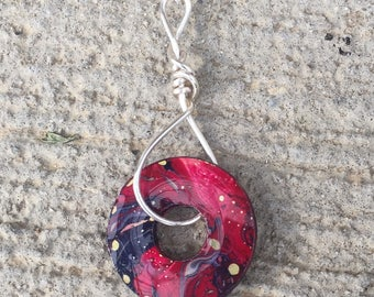 Red and Purple Watermarbled Washer Pendant