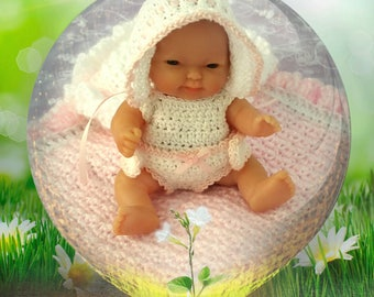 """Adorable Berenguer Baby Crochet """"Pretty Little Baby"""" Outfit/Set - fits 5 inch doll Quality Handcrafted"""