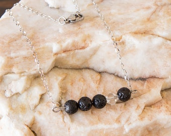 Lava Bead Essential Oil Diffuser Necklace and Bracelet- Aromatherapy Oil Diffuser Necklace - Bar Necklace -Crystal Accent Bead - Non tarnish