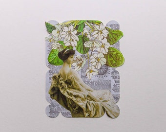 woman with white flowers, original paper collage