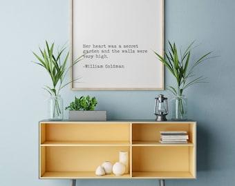The Princess Bride Quote Print, Secret Garden Quote Print, Printable Quote, William Goldman Wall Art, Literary Art Print, Typewriter Font