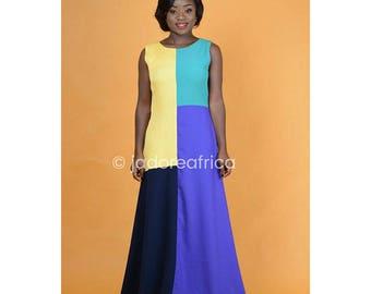 Multi color crepe maxi dress