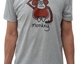 Mens cheeky MONKEY grey T.shirt.