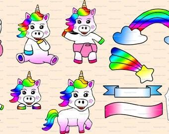 Clip art illustrations, clipart images, PNG images, Unicorn