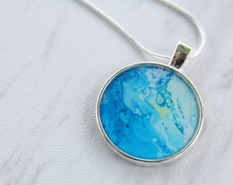 Blue, White, and Green Fluid Painting Silver Necklace Pendant