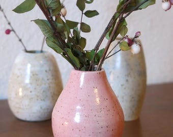 Pink Vase-speckled clay