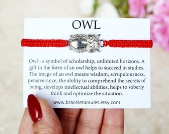 Owl Bracelet Best friend gift Red String Bracelet Owl jewelry Friendship Jewelry Wish bracelet Red Thread Bracelet Evil eye bracelet
