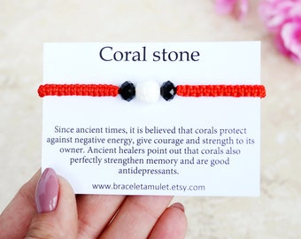 Coral bracelet Energy bracelet Power bracelet long distance gifts Kabbalah bracelet Protection bracelet Coral Jewelry gift for grandma