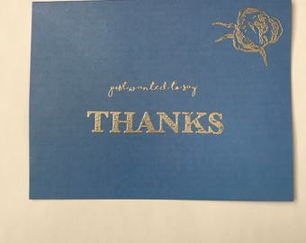 Thank you cards set of 20 - blue and gold