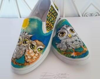 Owl Slip Ons,  Hadpainted Shoes, Mandala Slip on Shoes, Hand Painted Mandala, Footwear Owls, Handpaint Footwear, Slip on Shoes HANDPAINTED