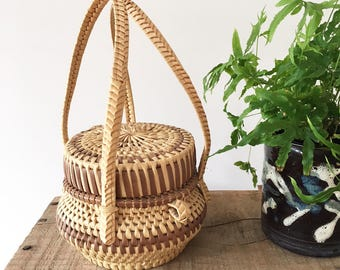 Small Woven African Lidded Basket - Bohemian Boho Eclectic Jungalow Decor Style Home - africa - straw - woven art tribal cane lid #0580