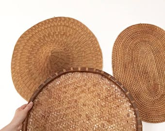 3 Large Vintage Basket Wall Feature pieces - Bohemian Boho Jungalow Eclectic Style Decor Home - woven art cane wicker rattan - hat #0733