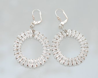 swarovski,crystal,white,clear,silver,earring, gift for her, jewelry for event, bridal earring,set jewelry, white clear earring, set, long