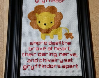 Harry Potter Gryffindor cross stitch & quote