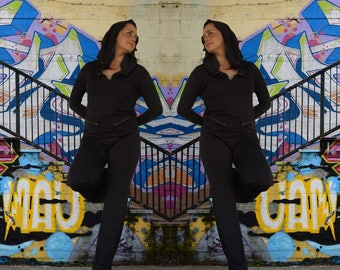 Black Jumpsuit/Loose Jumpsuit/Maxi black jumpsuit/Oversize jumpsuit/Black plus size jumpsuit/Woman loose jumpsuit/ jumpsuit with hood