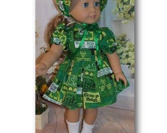 "When Irish Eyes Smile- 18"" Doll Clothes. Bonnet, Dress with Zipper & Underwear (Clothes only, American Girl doll, Nicki, is not included)"