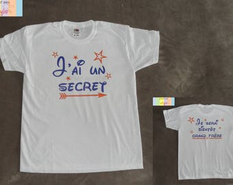 "Kids custom t-shirt ""I have a secret, I will be soon big brother"""