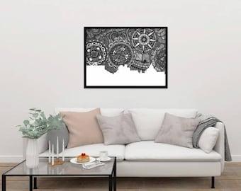 Guanajuato, Black and White, Skyline, Art, Doodle, Zentangle, Print, Poster, México, Home Decore, Gift, Digital Illustration, City, Latin.